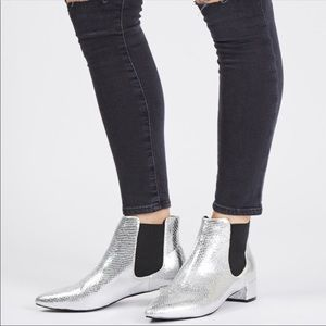 Top Shop Silver Snakeskin Ankle Booties